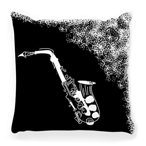 LXJ-CQ Funda de Almohada de Tiro 18x18 Saxofón Negro Jazz Music Stave Art Band Botones de latón Clásico Clef Decoración Entretenimiento Evento Funda de Almohada