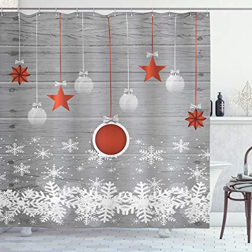 ABAKUHAUS, Weihnachten, Duschvorhang, Sterne Flitter Schnee, Leicht zu pflegener Stoff mit 12 Haken Wasserdicht Farbfest Bakterie Resistent, 175 x 220 cm, Weiß Grau Rot