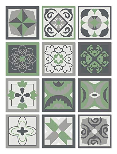 Panorama Adesivi per Piastrelle in Vinile PVC Set di 72 Piastrelle di 10x10cm Design Idraulico Verdi - Piastrelle Adesive Cucina Bagno - Stikers per Pareti - Mattonelle Adesive
