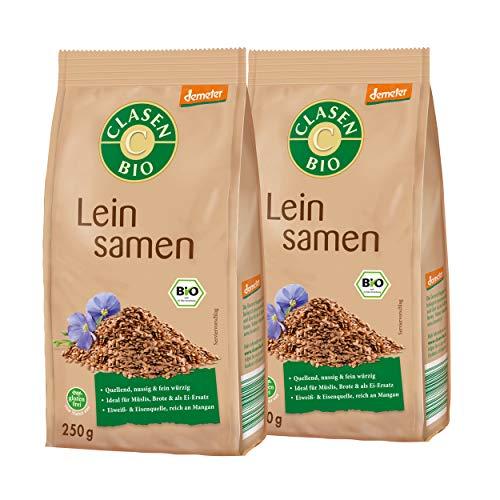 2x CLASEN BIO Demeter Leinsamen ganz, glutenfrei und naturbelassen - 250 g