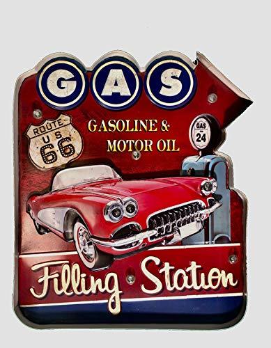 DiiliHiiri Cartel Retro Luminoso Garage Vintage Letrero Metálico Artesania Accesorios Decoración Hogar (Gas Filling Station 2)