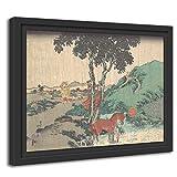 Printed Paintings Marco Americano (80x60cm): Utagawa Kunisada - Lluvia del Quinto Mes (Samidare)