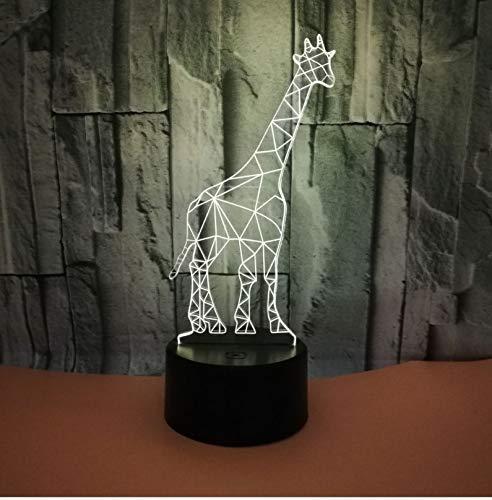 Jirafa 3D Lámpara De Ilusión 3D Luz De Noche Led Con Interruptor Táctil E Intermitente De 7 Colores Lámpara De Escritorio Para Dormitorio Con Alimentación Usb Para Niños Regalos Decoración Del Hogar