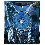 Dawhud Direct Wolf and Bald Eagle Dreamcatcher Super Soft Plush Fleece Throw Blanket