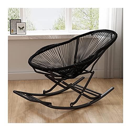 LIXIONG Loungesessel, Komfortabel Draussen Rattan Schaukelstuhl, Dauerhaft Chaise Wellig Salon Stühle zum Balkon Hof Terrasse, 6 Farben...