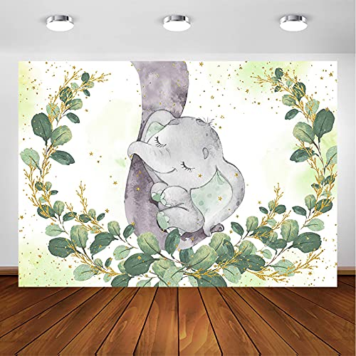 Avezano Elephant Baby Shower Backdrop for Boy Watercolor Green Leaves Baby Shower Party Decorations Photography Background Golden Glitter Elephant Party Photoshoot Backdrops (7x5ft)