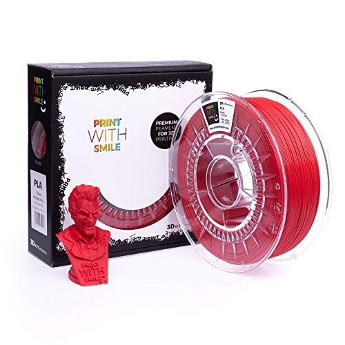 Print With Smile 3D Filament PLA 1.75 mm 1 kg, 1 kg, Ruby Red, 19