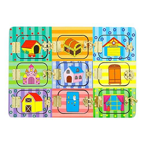 CUTICATE Cerraduras y Pestillos de Madera Juego de Tablero de Puerta Misteriosa Rompecabezas Educativo Kid Montessori Toy - Puerta misteriosa