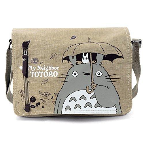 """YewBeak Kuriertasche mit Schlinge, mit Aufdruck aus dem japanischen Film """"Mein Nachbar Totoro"""", braun"""