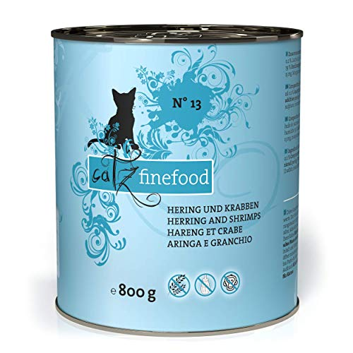 catz finefood N° 13 Hering & Krabben Feinkost Katzenfutter nass, verfeinert mit Kürbis & Aloe Vera, 6 x 800g Dosen