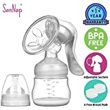 SanNap FDA Approved Manual Breast Pump Most Comfortable with Silicon Massage Cushion