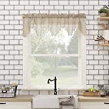 No. 918 Alison Floral Lace Sheer Rod Pocket Kitchen Curtain Valance, 58' x 14', Stone