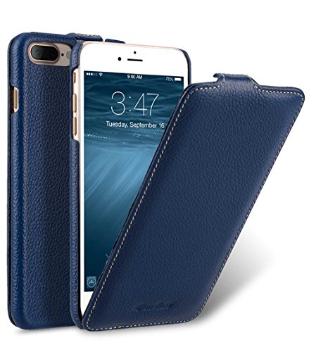 MELCKO Tasche passend für Apple iPhone 8 Plus & 7 Plus (5.5 Zoll), Hülle Außenseite aus beschichtetem Leder, Schutz-Hülle klappbar, Flip-Hülle, Etui, Ultra-Slim Cover, Blau