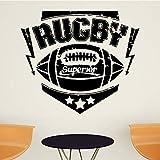 TYLPK Rugby Sport Stickers Muraux Pour La Chambre Des Enfants Salon Papier Peint Vinyle Mur Artiste Résidence Art Déco Stickers Muraux noir 30X26CM
