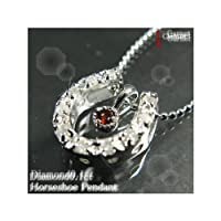 (オールジュエリー) AllJewelry ガーネット×ダイヤモンド馬蹄 ネックレス S341-1
