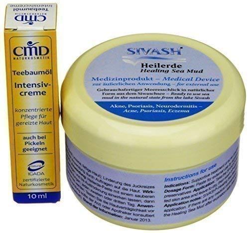 Intensivset für Behandlung gegen Akne, Pickel, unreine, fettige Haut: SIVASH-Heilerde-Gesichtsmaske 250g + Teebaumöl Intensivcreme 10ml