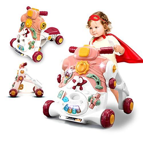 SLCE Correpasillos Andandín 3 En 1, Diseño Mejorado, Andador Bebé Interactivo Plegable Y Regulador De Velocidad, Andador, Correpasillos Bebé +6 Meses, Múltiples Funciones, Rosado