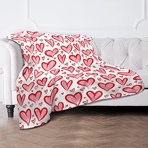 Coperta rossa con motivo a cuore, Super Soft Deke, piccola coperta personalizzata, morbida coperta per il divano, per bambini, ragazzi, ragazze, come regalo, 130 x 150 cm