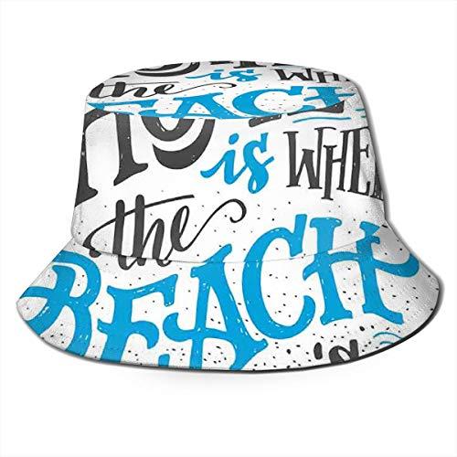 SUHETI Sombrerode Pescador Visera,Tropical Summer Theme Home es Donde está la Frase de la Playa,con Gorra Protección contra Sol UV Transpirable Sombrero