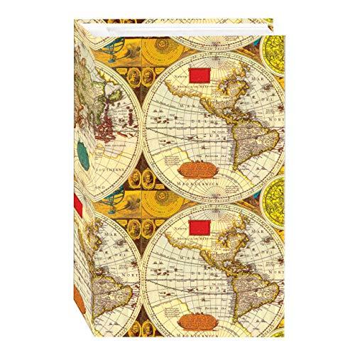 Álbum de fotos de 3 anéis com 504 bolsos para fotos 10 x 15 cm, design de mapa do mundo antigo