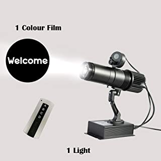 LED Logo GOBO 20W Remote Control LED GOBO Projector Advertising Logo Light with Custom 1 Color Rotating Glass Gobos Indoor Black