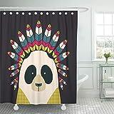 KTTO Duschvorhang Panda Pattern wasserdichte Polyester Badezimmerdekoration Multi-Size 120X180cm
