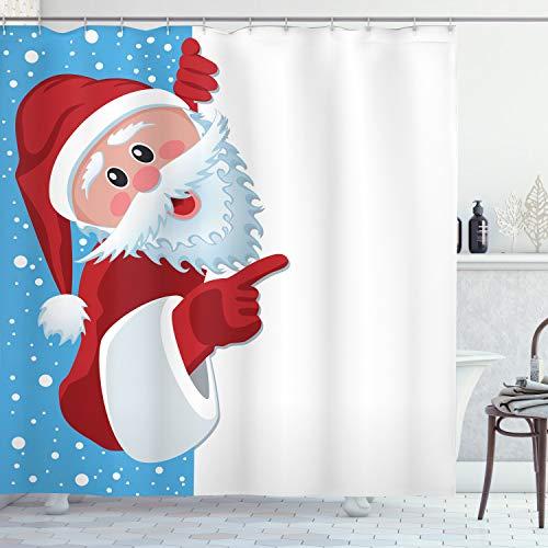 "Ambesonne Christmas Shower Curtain, Father Christmas Happy Illustration Winter Snow Season Elements, Cloth Fabric Bathroom Decor Set with Hooks, 70"" Long, Vermilion Blue White"