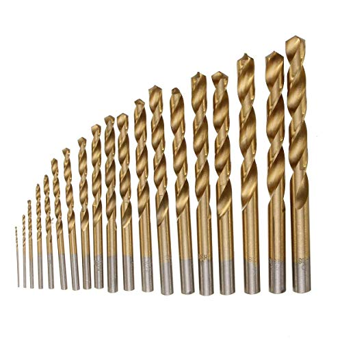 ZYL-YL Drill 19pcs1-10mm HSS Titanium Coated Twist Drill Bit Set Straight Shank Twist Drill for Metal Wood Drilling Drill Accessories