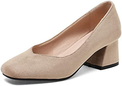 VIVIOO Grande Taille 33-44 Flock Pompes Pompes Femmes Bout carré Talons carrés Confortables Chaussures de Ville Chaussures habillées