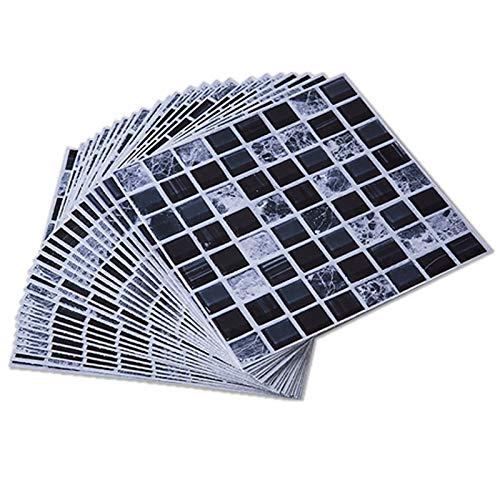 ENCOFT 24 Piezas PVC Adhesivo para Azulejos para Baño, Pegatinas de Baldosas Autoadhesivo Impermeable para Cocina, Pegatinas Adhesivo de Azulejo Cuadrado, Mosaico Negro 20x20cm