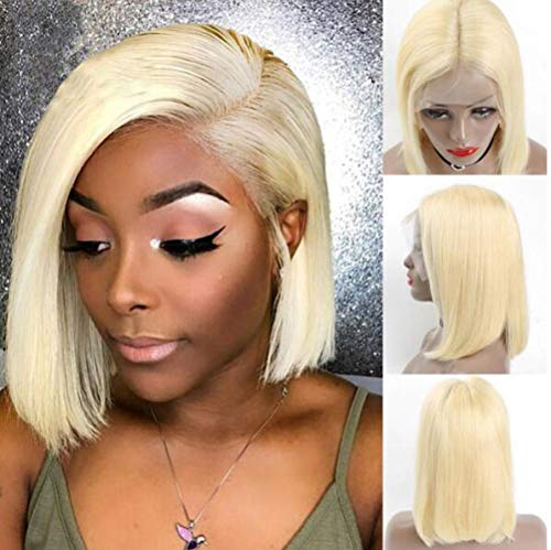 LQ&XL Cheveux # 613/blond sans colle Perruque lace front pour femme Cheveux humains Bob Perruques avec cheveux de bébé Pre Poils court Perruque 12inches A/A