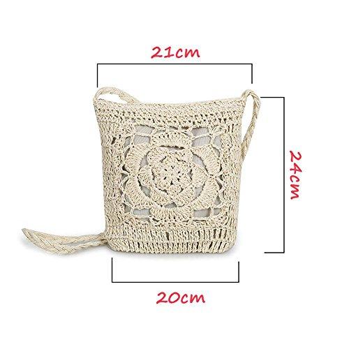 Waroomss Borsa a tracolla fatta a mano con fiori in maglia a forma di fiore borsa da viaggio per borsa a tracolla intrecciata moda donna