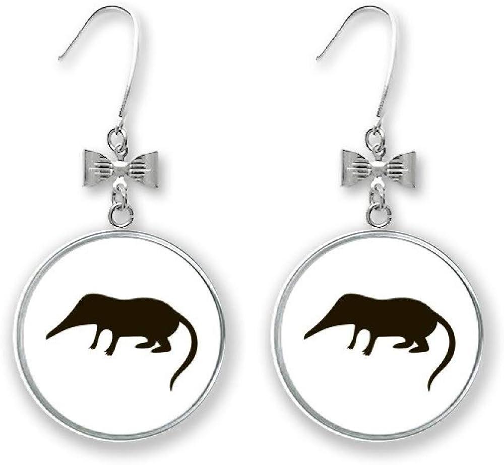 Black Shrew Animal Portrayal Bow Pierced Stud Drop Earrings Manufacturer Philadelphia Mall OFFicial shop Hook