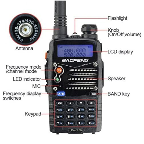 Baofeng UV5RA Ham Two Way Radio 136-174/400-480 MHz Dual-Band Transceiver (Black) 5