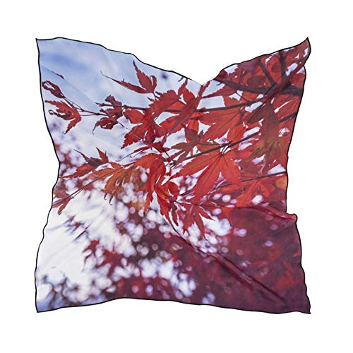 Women's Soft Polyester Silk Scarf,23.62'x23.62'large Square Printed Acer Palmatum Leaves Wind Fall Red Silk Feel Scarf