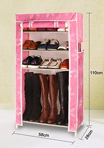 Schuhgestell mehrstöckiges Massivholz modernes einfaches Oxford Tuch Staub Wohnheim Wirtschaft Haus einfach Schuhschrank ( Farbe : Pink )