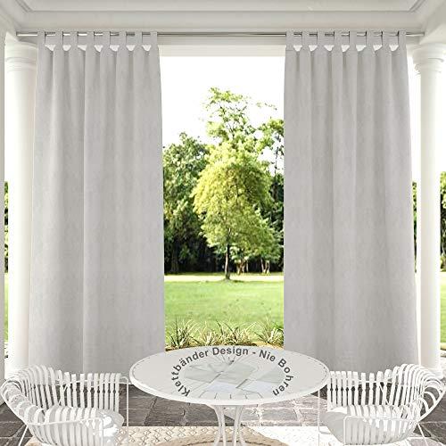 Clothink Outdoor Vorhänge Aussenvorhang B:132xH:215cm mit Klettbänder Ohne Bohren Winddicht Wasserabweisend Sichtschutz Sonnenschutz UVschutz Grau-weiß