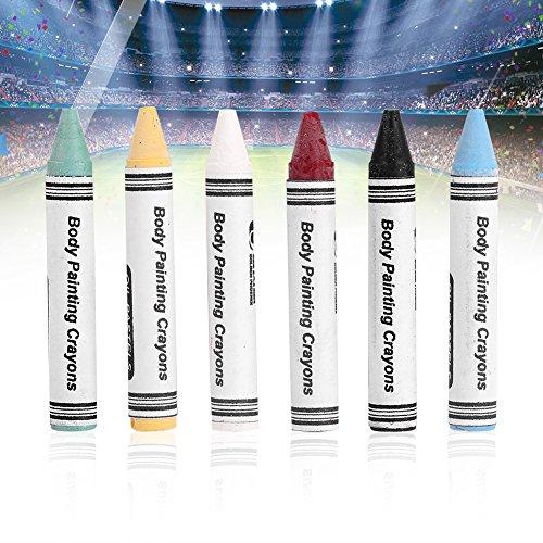 6 pcs Neon Visage Corps Peinture Crayons, Glow Fluorescent Visage Maquillage Corps Stylo pour Football DIY Partie