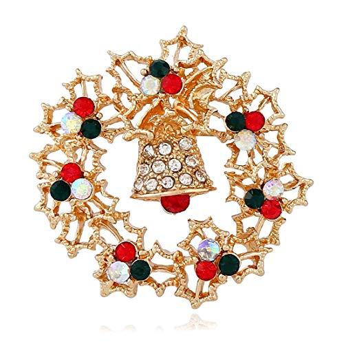 Europa und die Vereinigten Staaten Weihnachtsglocken mit Diamanten Stereo-Brosche Retro feiner legierung kranz brosche weihnachten dage geschenkkragen pin brosche einfache schmuck diy (Farbe: gelb) pe