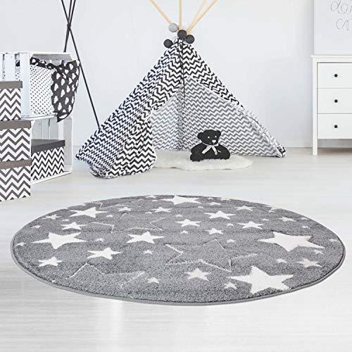 carpet city Kinderteppich Flachflor Bueno Konturenschnitt Glanzgarn mit Sterne in Grau für Kinderzimmer, Größe: 120 cm Rund