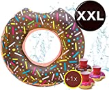 [page_title]-Aufblasbar Donut Ø 120 cm mit Biss Schwimmring Schwimmreifen Luftmatratze Schwimmkissen braun, Pool & Wasser, mit 1x Getränkehalter für Erwachsene & Kinder Schwimminsel Schwimmtier (Brauner Donut)