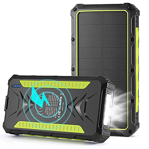 Solar Charger 36000mAh Wireless Portable Solar Power Bank External Battery Pack Rainproof Solar Phone Charger with 3A Fast Charging and LED Flashlights, Compatible Smartphones, Tablets, Switch