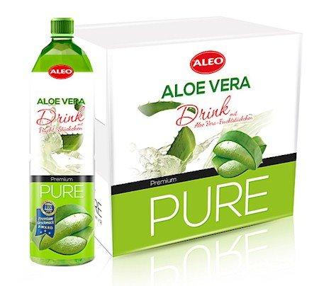 ALEO - Premium PURE - Aloe Vera Drink mit Fruchtstückchen (1,5L Pfandflasche)