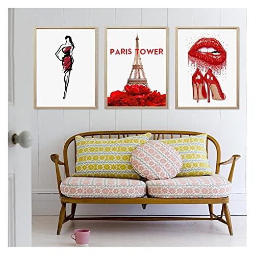 LTGBQNM Fashion Canvas Wall Art Red Lipsimagen Torre de París Impresiones y Carteles para Dormitorio Chica Decoración para el hogar Sin Marco 24inchx32inchx3 Sin Marco