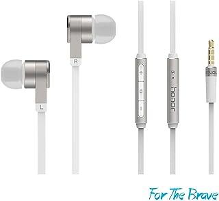 Huawei Auriculares AM13 Bass auriculares 2 Mando a Distancia de auricular estéreo con micrófono In-Ear auriculares con micrófono de control de alambre, pack de moda en paquete original Huawei, Plateado