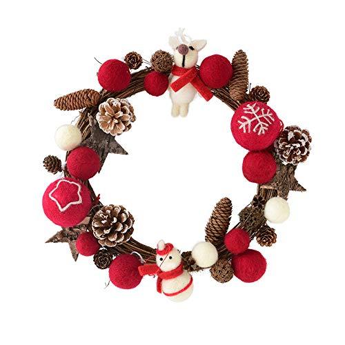 TDDEV Christmas decorations Sen Wicker Wool Felt Christmas Wreath Door Hanging Pine Cone Circle Shop Window@30CM pinecone deer