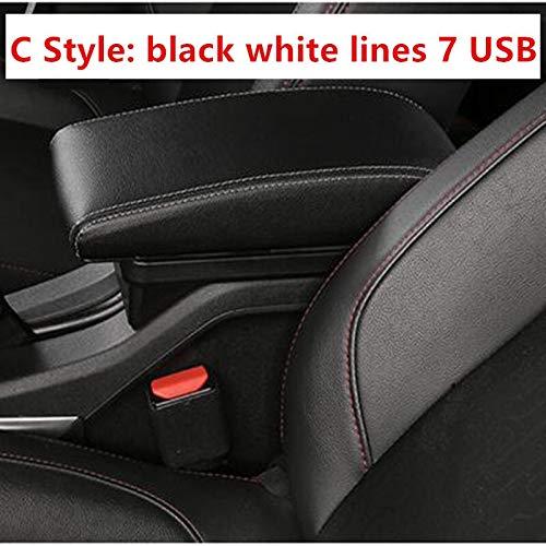 Para Ford Focus MK1 Box Box Store Central Tienda de contenido Caja de almacenamiento Caja de reposabrazos Interfaz USB (Color Name : C Black white line)