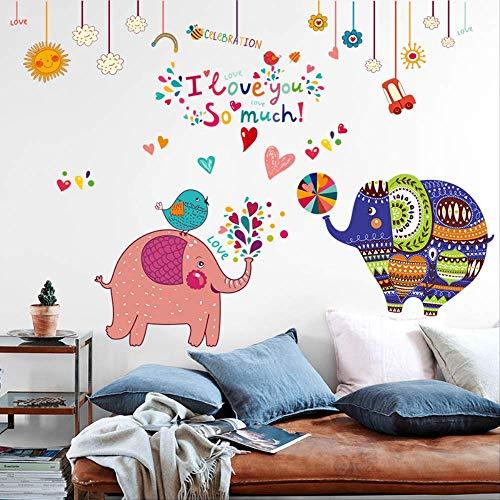 Behang Zelfklevende Cartoon Olifant Muurstickers Kinderen Slaapkamer Muurstickers Baby Kamer Decoraties Muur Schilderen Deur Stickers 100 * 82Cm