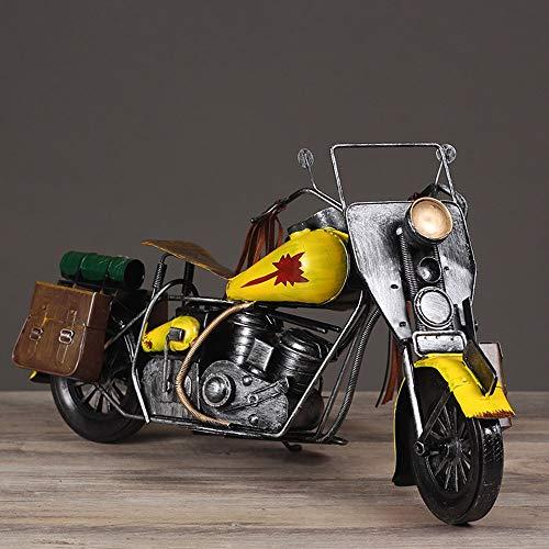 KK Zachary Vintage Viejos Adornos Hechos A Mano Modelo De Casa De Juguete Creativo Decoración De Su Cuarto De Estar Regalo De Hierro Forjado Motocicleta (40 * 23cm)