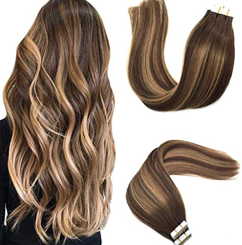 Googoo 50g/20pcs Tape in Ombre Hair Extensions 24inch Skin Weft Hair...